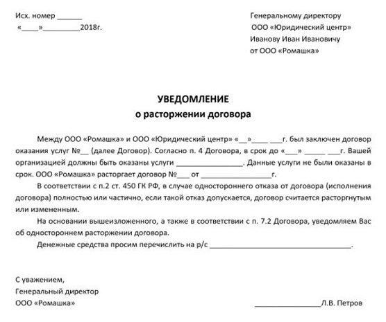 Образец заявления на расторжение договора об оказании услуг