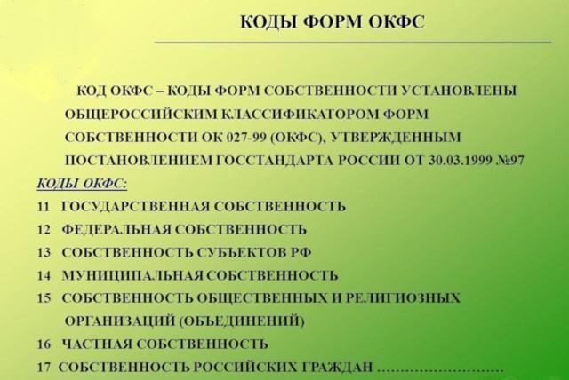 Расшифровка ОКФС-16 и других кодов форм собственности