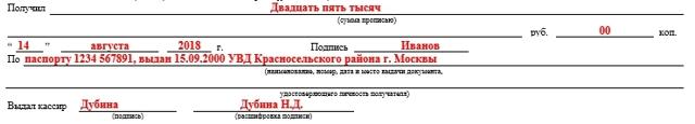 Образец заполнения Расходного кассового ордера