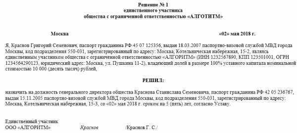 Обрзец решения о создании ООО единственным учредителем